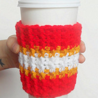 Team Spirit Crochet Coffee Cozy in Red, Yellow and White, ready to ship.