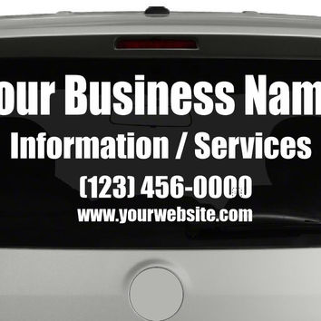 Custom Rear Window Vehicle Lettering - Your Custom Information