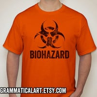 Men's Shirt Science T-Shirt Biohazard Geekery Tee Orange Shirt Biology Chemistry Biochemistry Physics Funny Shirt Gift for Teachers