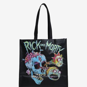 Licensed cool Rick & Morty Skull Heads Eyeballs Skateboard Reusable ECO Shopper Tote Bag NWT