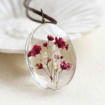 Large Dried Flower Glass Necklace