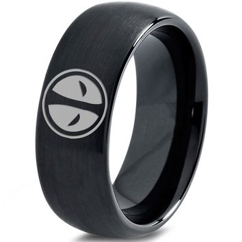 Deadpool Inspired Black Tungsten Ring