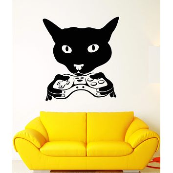 Vinyl Wall Decal Cat Head Gamer Joystick Video Game Room Stickers Unique Gift (1846ig)