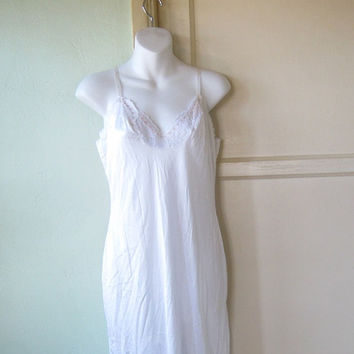 Pink Flower Applique-Embellished Full Slip - Dress Length Full Slip; Small - Size 34 Slip - Classic White Slip