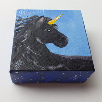 Black Unicorn -  4x4 Daily Doodle Mini acrylic Painting