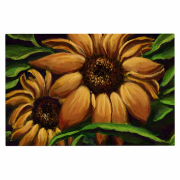 "Cyndi Steen ""Sunflower Days"" Yellow Floral Decorative Door Mat"
