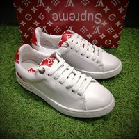 Best Online Sale Hot Supreme x Louis Vuitton Fashion Plate Shoes White Red Casual Shoes