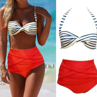 SEXY STRIPE HIGH-WAISTED BIKINI