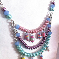 Handpainted Easter egg pastel pearl necklace ,pink,purple,blue,green,spring