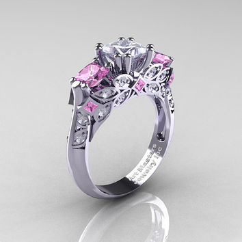 Classic 18K White Gold Three Stone Princess White and Light Pink Sapphire Solitaire Engagement Ring R500-18KWGLPSWS