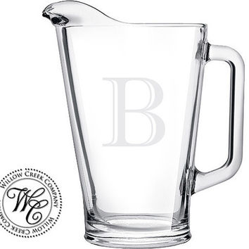 Beer Pitcher Personalized Custom Etched Glass Pitcher with Single Initial Monogram