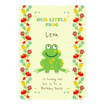 Little frog baby first birthday party card