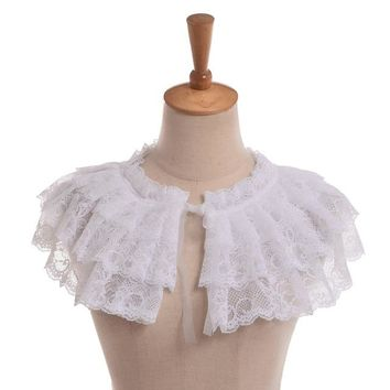 1pc Lolita Girls White Lace Detachable Collar Jabot Neckwear Victorian Mini Cape