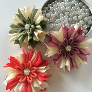 3 pieces of ribbon flowers,kanzashi flower applique,scrapbooking,embellishment, card making, sewing, hair bows, gift wrapping,headbands.