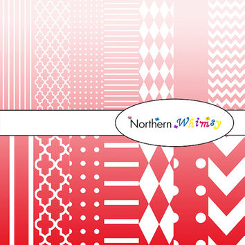 Digital Scrapbooking Paper Set – Ombre Red and White in stripes, chevron, polka dot, stripe, harlequin, and quatrefoil  INSTANT DOWNLOAD