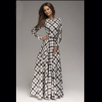 New Arrival winter women maxi dresses casual full sleeve o-neck print plaid elegant party evening maxi long dress plus size