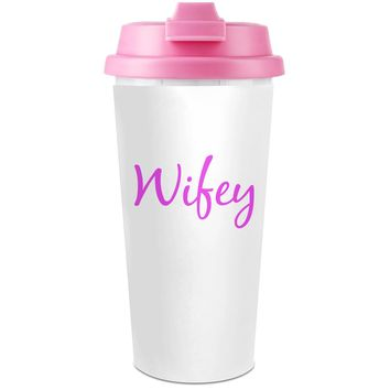 Wifey Funny Slogan  Plastic Travel Coffee Cup - 450 ml - Enjoy Your Drinks Everywhere