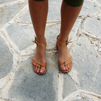 Women Leather Sandal-Greek Handmade Summer Flats-Gladiator Sandals