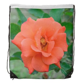 Peach rose drawstring backpacks