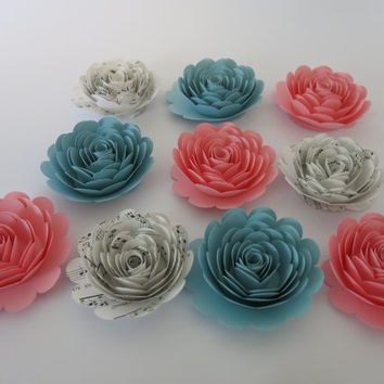 "Pink, Light Blue and Sheet Music Roses, 3"" rosettes, set of 10 paper flowers, Music lovers gift wedding wall flowers boy or girl baby shower"