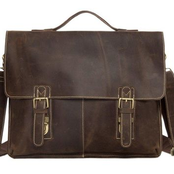 BLUESEBE MEN GENUINE LEATHER VINTAGE SATCHEL/MESSENGER BAG 7037