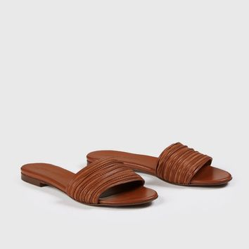 Knotted Leather Slide Sandal - Saddle