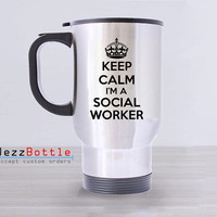 Travel Mug Custom Stainless Steel With Design Social Worker Printed Two Side