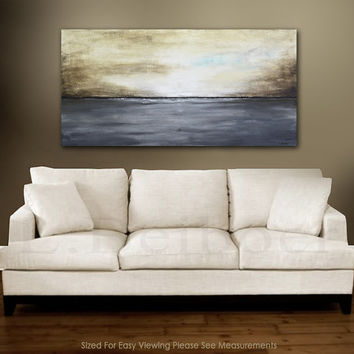 Abstract Landscape Painting 24 x 48 original modern art large oil gray brown landscape abstract