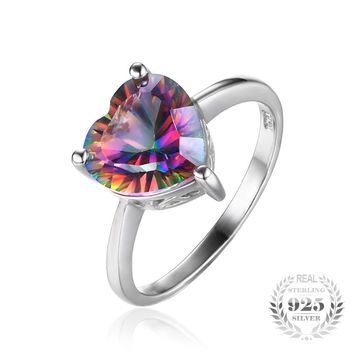2.6ct Rainbow Fire Mystic Topazs Ring Solid 925 Sterling Silver Jewelry For Women Heart Engagement Vintage Ring