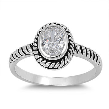 925 Sterling Silver CZ Rope Weave Oval Center Ring 11MM