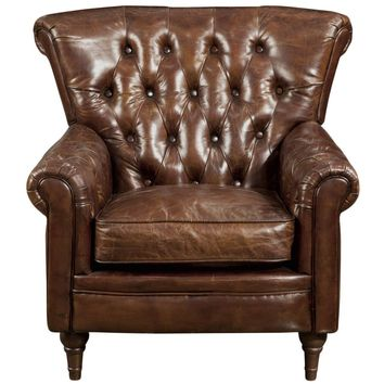 New Castle Club Chair Brown Top Grain Leather Rubber Wood Leg