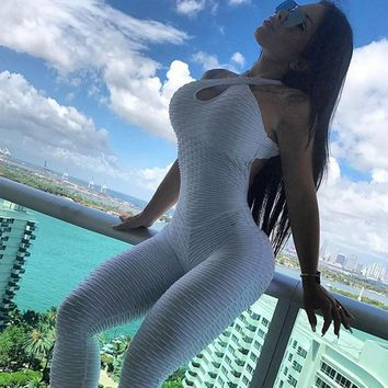 New High Waist Fitness Jumpsuits Women Fashion Patchwork Playsuit Casual Summer Soild Sporting Women Rompers
