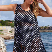 SIMPLE - Summer Chiffon See Through Polka Dot Beachwear a12796