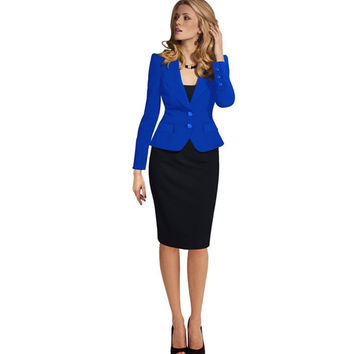 2016 New Women Autumn Winter Long Sleeve Office suit  TNotches Button Wear to Work Business Outwear Jacket Blazer Plus Size