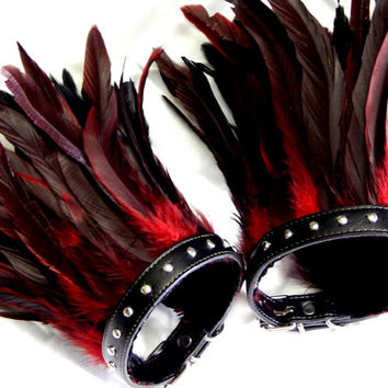 Red Feather Studded Upper ARM Cuffs Gothic /Adult Unisex Feather Arm Bands Ready to Ship