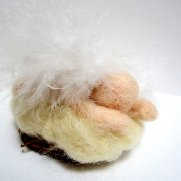 Angel baby, needle felted ornament, child loss gift, grief sculpture, sympathy figurine, miscarriage angel, feather wings, white cloud