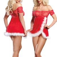 Sexy Ms Santa Red Lace Dress Lingerie Christmas Costume