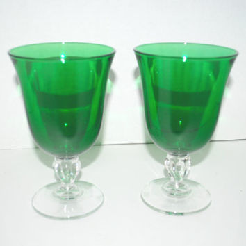 Vintage Emerald green glass goblets   water goblets  green glass set of  2 glasses