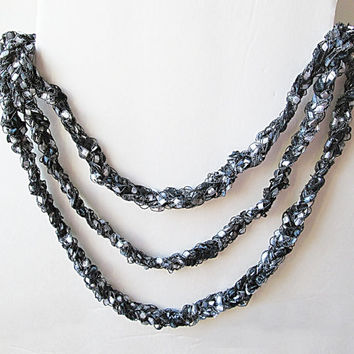 Ladder Yarn Necklace, Trellis Yarn Necklace, Ribbon Yarn Necklace, Shimmering Black And Silver