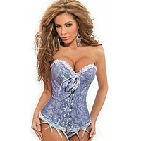 Ladies Sexy Lace up Back Satin Boned Corset Bustier G-string Size S-6XL