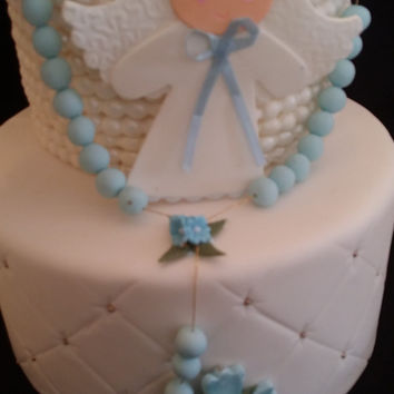 Baptism Cake, Angel with Rosary Cake Topper, First Communion Cake Decor, Baptisn Favors and Decoration, Girl Baptism, Baptism For Twins