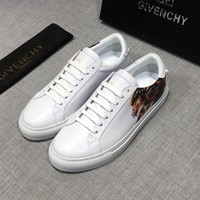 GIVENCHY LEO Printed White Leather Low Sneakers - Best Deal Online