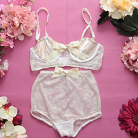 CLAIRE / Beige lace and satin lingerie set / Ready to ship