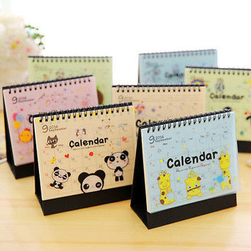 New Cartoon Animal Desk Desktop Calendar Flip Stand Office Schedule Planner HU