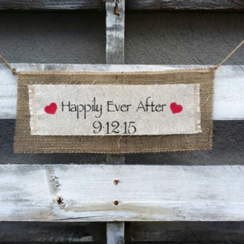 Perspnalized Happily Ever After and Date Burlap Banner, Wedding Burlap Banner, Wedding Sign, Rustic Wedding Decor,  Engagement Banner