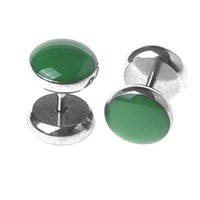 BodyJ4You Fake Plugs Green Stainless Steel Cheater Gauges 16G Illusion Jewelry