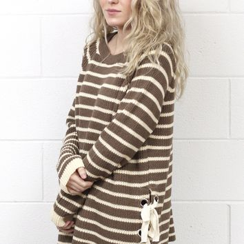 My Kinda Stripes Lace Up Sides Sweater {Mocha}