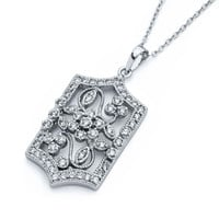 Sterling Silver Flower Cubic Zirconia Necklace