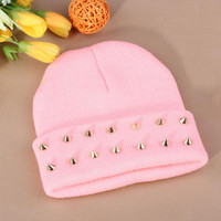 Gothic Punk Industrial Emo Edm Ebm Rave Rock Metal Stud Bullet Autumn Winter Warm Womens & Mens Knitted Beanie Pink Cuffed Skully Hat