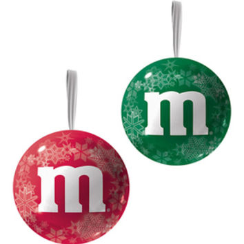 M&M's Candy Filled Tin Christmas Ornaments: 12-Piece Display